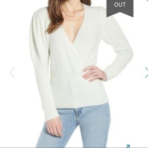 Something navy alpaca blend wrap sweater puff